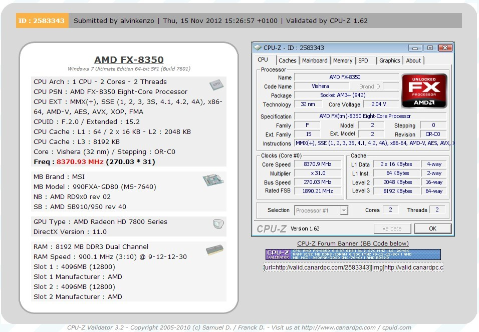 MSI 990FXA-GD80 Sets New World Record Of 8 37GHz With AMD FX