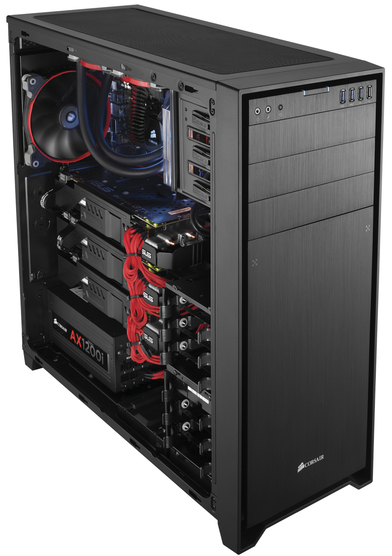 New corsair obsidian series 750d full tower pc case brings black metal